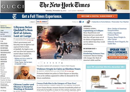 NYT homepage