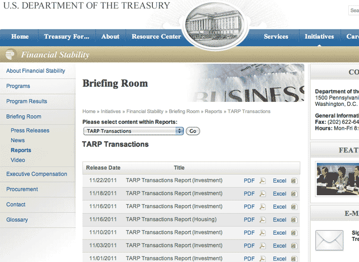Treasury.gov TARP page
