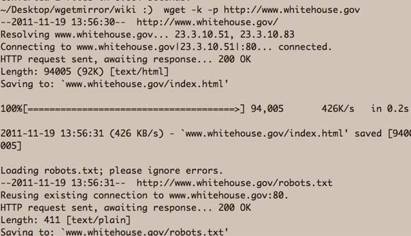 wget on whitehouse.gov