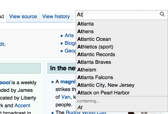 Searching for 'at' on Wikipedia